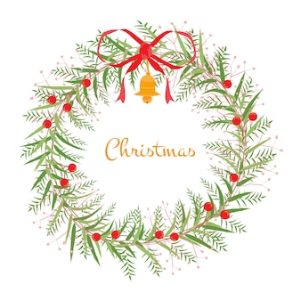 Венок хризмы и новый год. цветок - вектор для объекта, рамки и карты. объектом является коллекция для рождества и нового года. вектор не является следом или копией изображения.