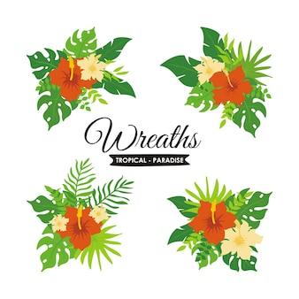 熱帯植物の花輪と花のセット、エキゾチックな熱帯の葉の花輪とバッジ