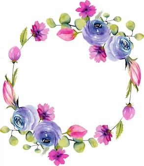 수채화 파란 장미와 스프링 필드 식물의 화환은 흰색 배경에 그려진