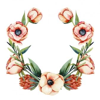 水彩のサンゴアネモネとプロテアの花の花輪、手描きのイラスト