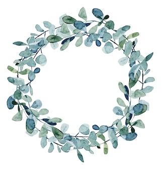 水彩ユーカリの枝の花輪、白い背景に手描き