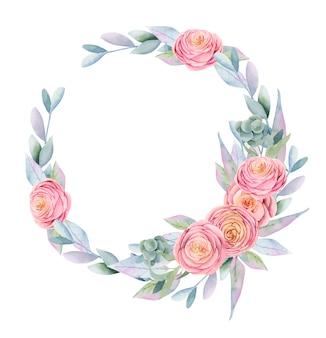 Венок из акварельных розовых красивых роз, зеленых листьев, ягод и веток