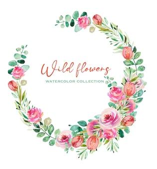 水彩ピンクのバラの緑の葉とユーカリの枝の花輪