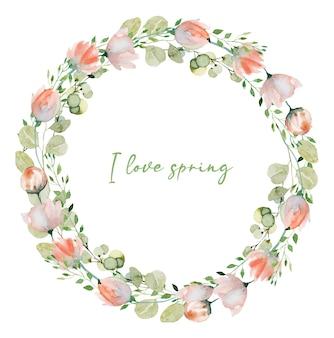 水彩画の春の植物の花輪ピンクの柔らかい野生の花の緑とユーカリの枝手描きの孤立したイラスト