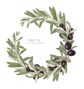 Wreath of olive tree branches with black ripe olives hand drawn isolated illustration