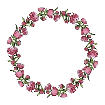 Wreath of peonies. hand drawn cartoon style illustration. cute summer or spring frame wedding, holiday or card
