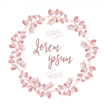 The wreath of pink flowers. round romantic flower frame and lettering happy wedding day