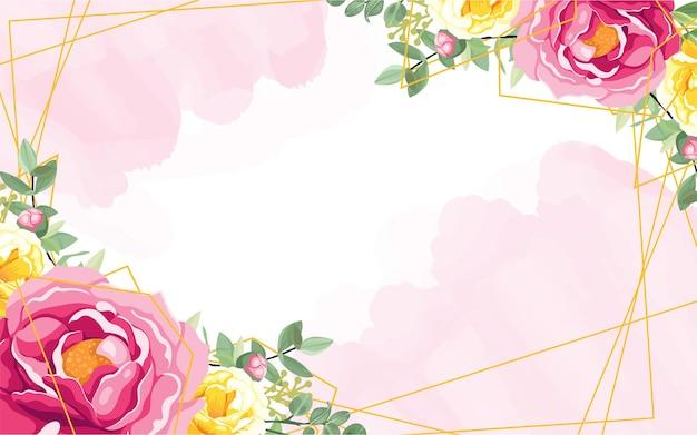 Ghirlanda di fiori rosa su sfondo bianco