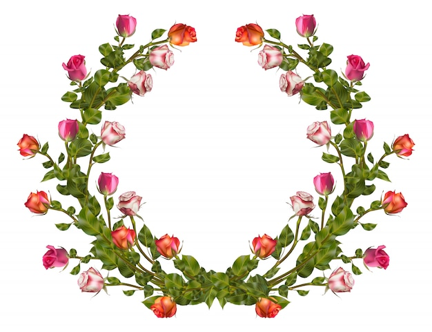 Wreath of roses  with copy space.   file included