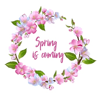 Wreath of spring flowers - poster, invitation or banner