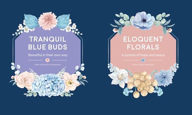 Modello di ghirlanda con concetto pacifico di fiori blu, stile acquerello