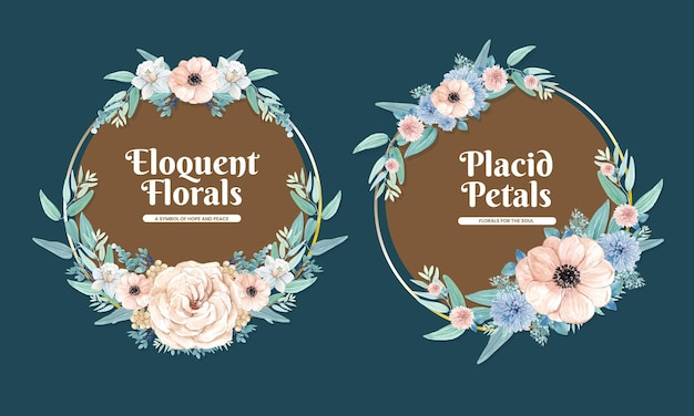 Wreath template with blue flower peaceful concept,watercolor style
