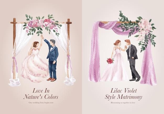 Шаблон венка с сиреневой фиолетовой свадебной концепцией, акварельный стиль