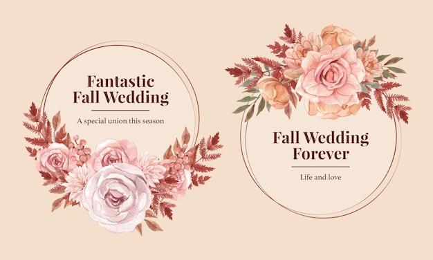 Шаблон венка со свадебной осенней концепцией в стиле акварели