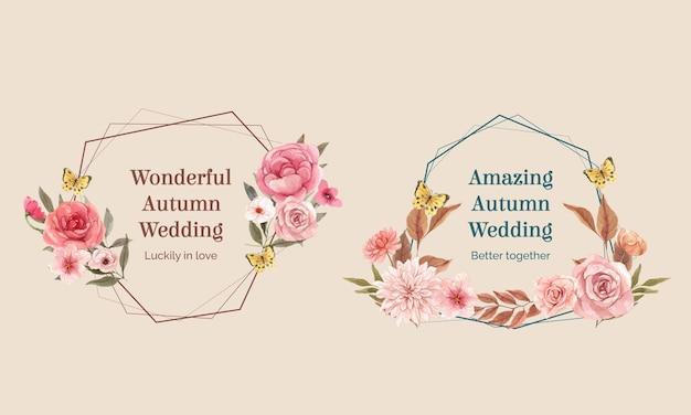 水彩風の結婚式の秋のコンセプトと花輪テンプレート