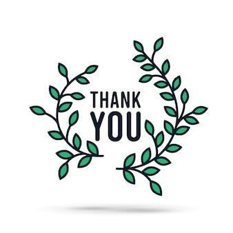 Wreath and thank you simple illustration sign