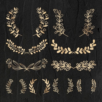 Wreath vector gold floral luxury style set