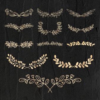 Set di ghirlande vettoriali in stile lusso floreale oro