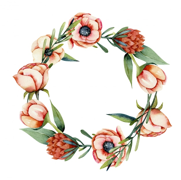 Wreath of watercolor coral anemone and protea flowers