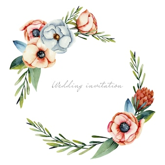 Wreath of watercolor coral and white anemone and protea flowers