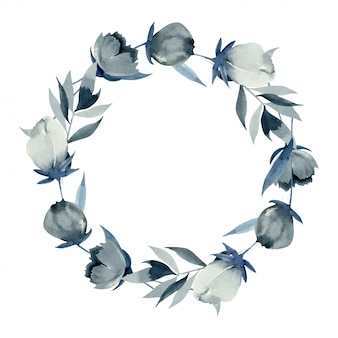 Wreath of watercolor indigo flowers, hand drawn on white