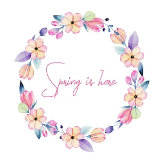 Wreath of watercolor pink and purple spring pastel flowers