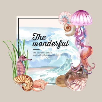 Wreath watercolor with sea animal concept, colorful illustration template