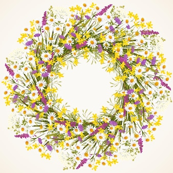 Wreath of wild flowers and grass vector illustration