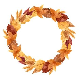 Венок с осенними листьями и колосьями пшеницы