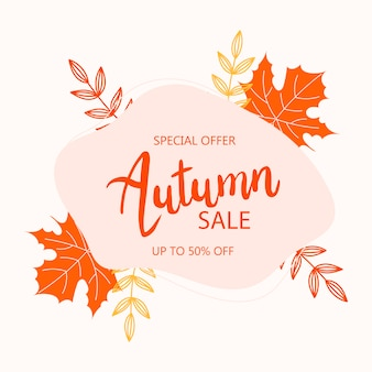 Wreath with autumn leaves.sale banner. round colorful frame with orange leaves