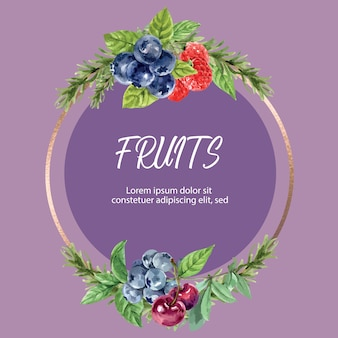 Wreath with berry frame, watercolor element illustration template