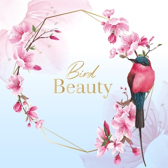 Wreath with blossom bird concept design watercolor illustration
