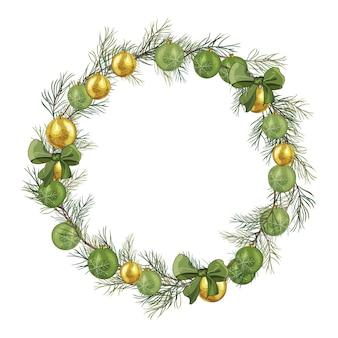 クリスマスツリーの枝、緑の弓、金と緑のボールと花輪。