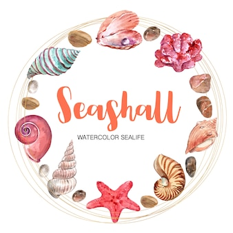 Wreath with circular frame, watercolor element illustration template
