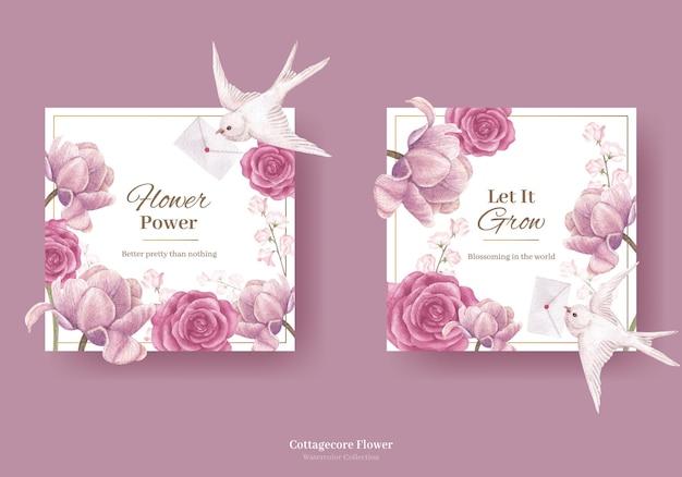 コテージコアの花のコンセプト、水彩風の花輪