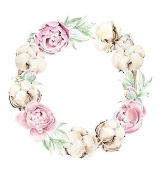 綿と牡丹の花輪