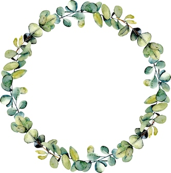 Wreath with eucalyptus branches watercolor illustration