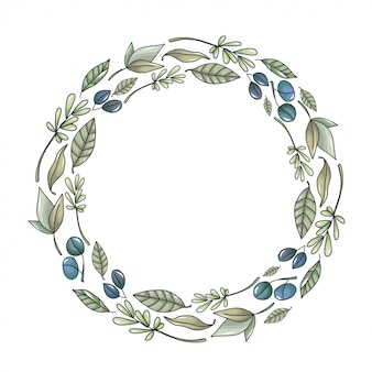 Wreath with eucalyptus leaves and branches