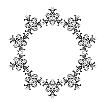 派手な花の花輪ダマスカススタイルのカールの飾り黒と白
