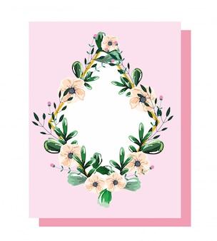 花と花輪と葉の花の水彩画テンプレート
