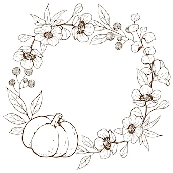Wreath with flowers and pumpkin doodle