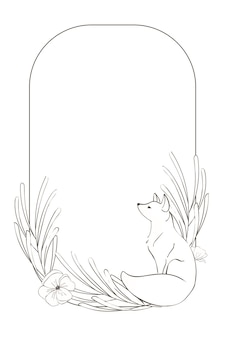 Wreath with fox and sketch floral