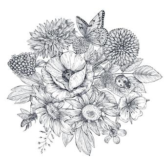 スケッチスタイルで手描きの花、葉、枝、蝶、蜂、てんとう虫と花輪。モノクロのベクトル図