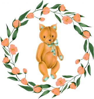 Wreath with hand-painted soft plush toy fox and pink flowers