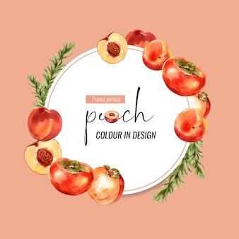 桃と梅の花輪、創造的なオレンジ色のイラスト。