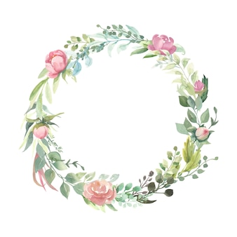Wreath with pink flower bouquets.
