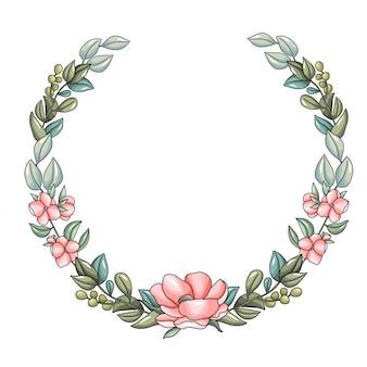 ピンクの花とユーカリの枝を持つ花輪