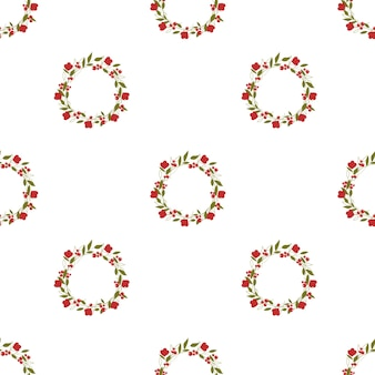 Wreath with red flowers and green leaves on a white background seamless pattern