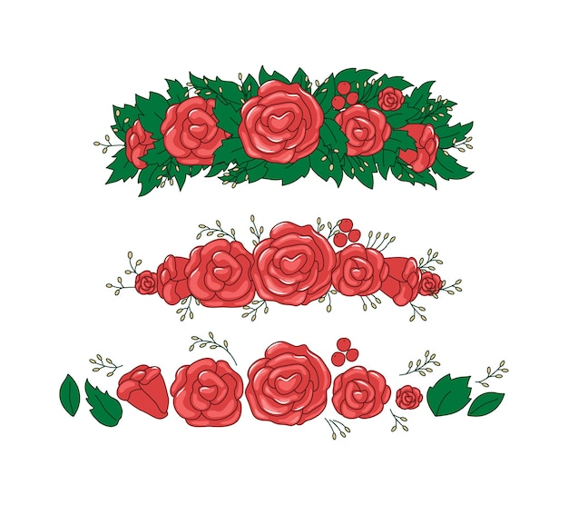Wreath with roses and leaves