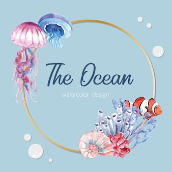 Wreath with sealife theme, light blue illustration template